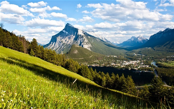 Wallpaper Canada, Banff National Park, mountains, forest, valley, town