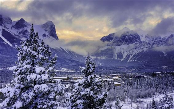 Papéis de Parede Canadá, Banff National Park, inverno, neve, montanhas, vale