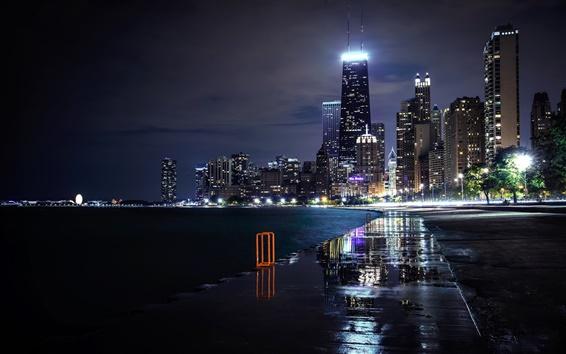 Wallpaper Chicago, Illinois, USA, city, night, skyscrapers, lights, river