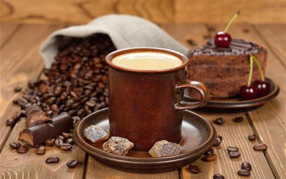 Wallpaper Coffee beans, cup, sugar