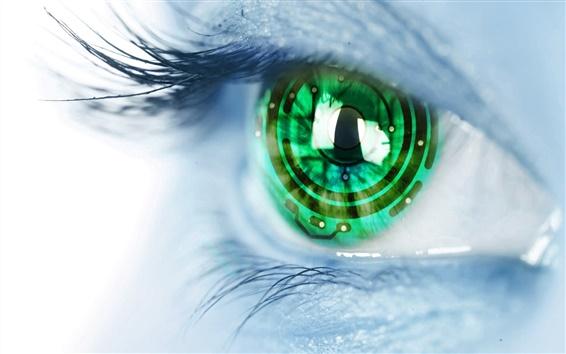 Обои Творческие фотографии, зеленые глаза