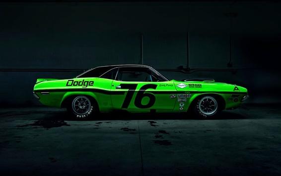 Wallpaper Dodge Challenger green race car