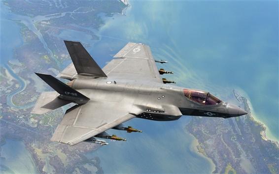 Wallpaper F-35C aircraft flight, weapons