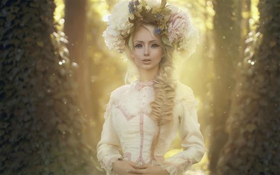 Wallpaper Fantasy girl, white dress, wreath, flowers, forest