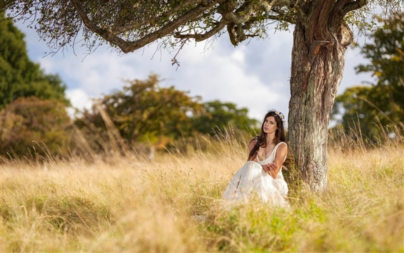 Wallpaper Girl in nature, sitting under tree, white dress