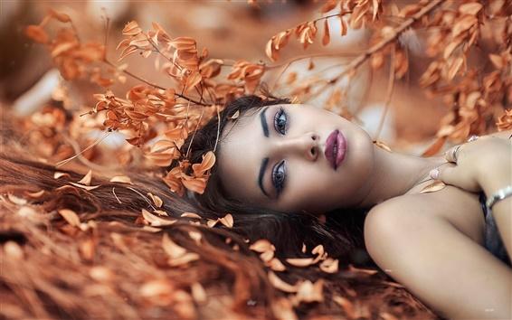 Wallpaper Girl lying on the ground, autumn, leaves