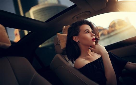 Wallpaper Girl, makeup, car, sunlight