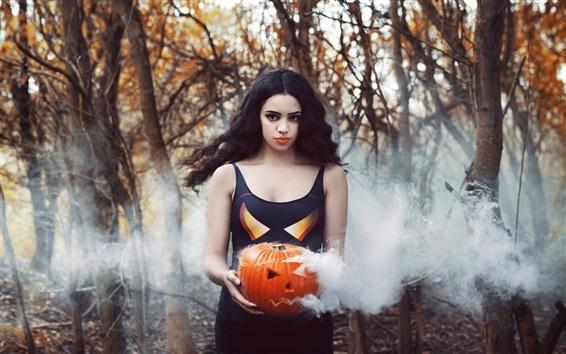 Обои Девушка, тыква, дым, Хэллоуин