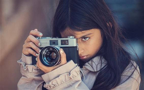 Обои Девушка использование камеры, Konica