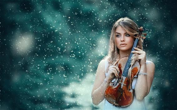 Wallpaper Girl, violin, snow, winter