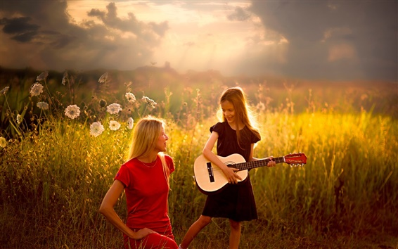 Wallpaper Girl with her mother, guitar, sun rays