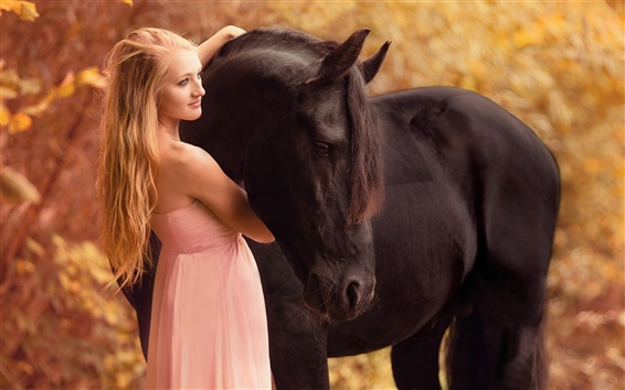 Wallpaper Girl with horse