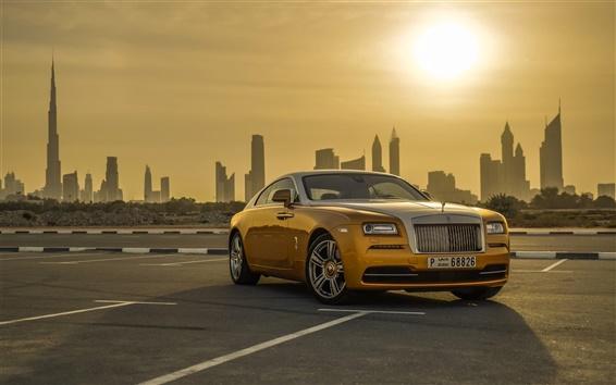Fond d'écran Couleur d'or Rolls-Royce voiture de luxe, Dubaï, coucher de soleil