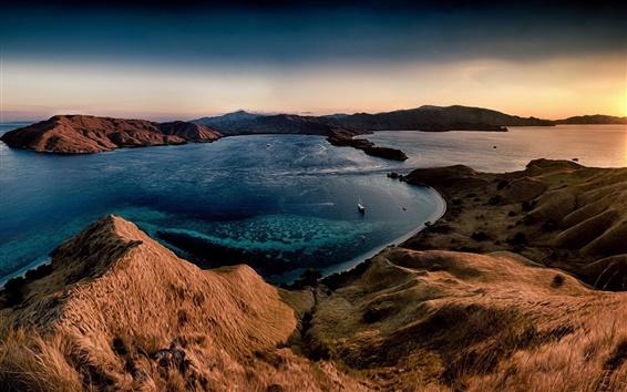 Wallpaper Hills, sea, sunset