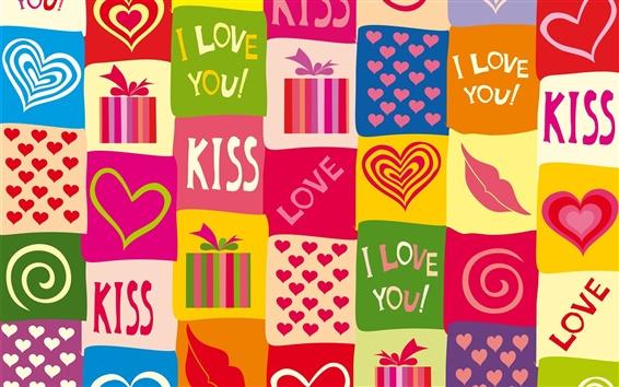 Papéis de Parede Eu te amo, corações do amor