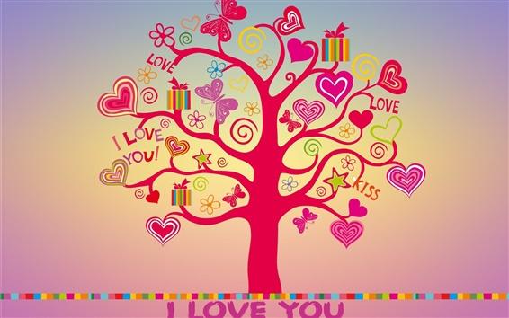 Papéis de Parede Eu te amo, amor, corações árvore