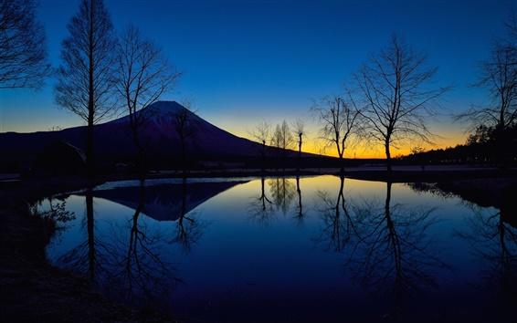 Wallpaper Japan, mount Fuji, night, lake, trees