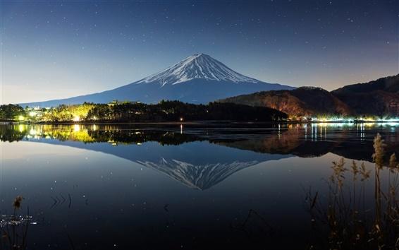 Wallpaper Japan, mount Fuji, night, winter, lake, lights