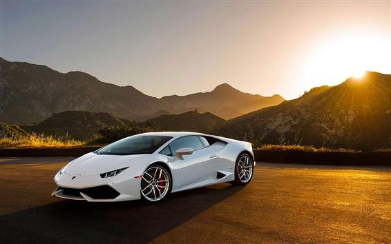 Fond d'écran Lamborghini LP640-4 Huracan supercar blanc au coucher du soleil