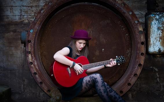Обои Длинные волосы девушка, шляпа, гитара, музыка
