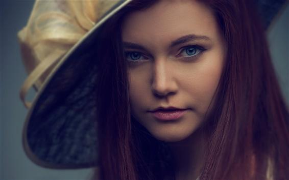 Wallpaper Long hair girl, hat, retro style