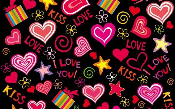 Wallpaper Love hearts, vector, romantic, Valentine day