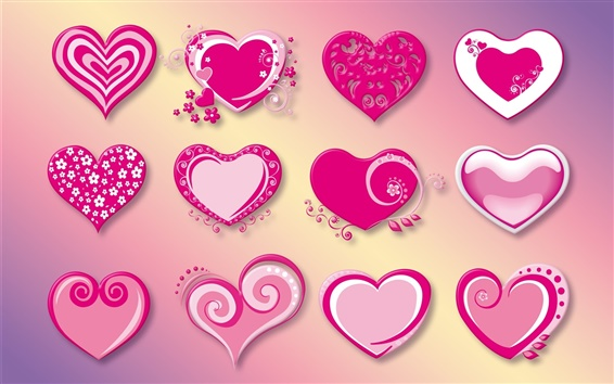 Wallpaper Many love hearts, pink, red, vector
