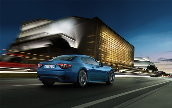 Wallpaper Maserati GranTurismo blue sport car speed