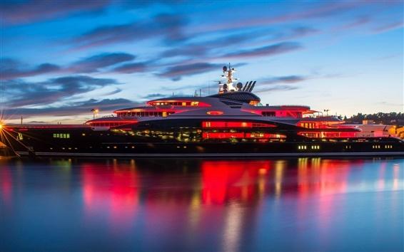 Wallpaper Mega yacht, water, night, lights, clouds