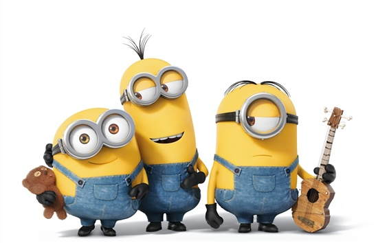 Fondos de pantalla Minions película de dibujos animados, tres personas pequeñas amarillas