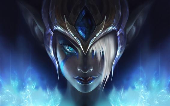 Fondos de pantalla Morgana, League of Legends, casco, cara de niña