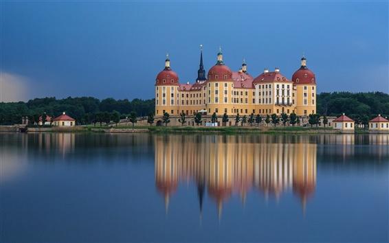 Papéis de Parede Moritzburg Castle, Alemanha, reflexão da água, rio, anoitecer