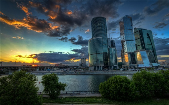 Wallpaper Moscow, Russian capital, skyscrapers, clouds, sunset, river, bridge