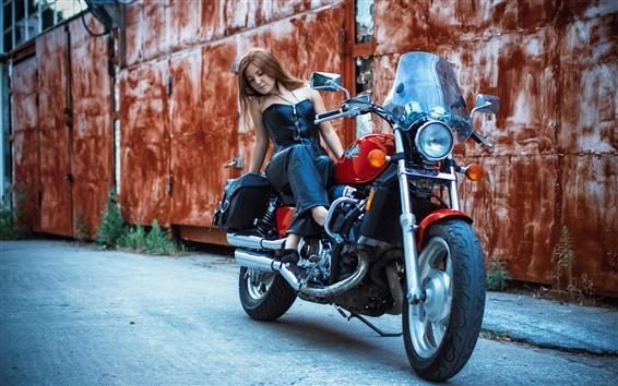 Wallpaper Motorcycle, street, girl