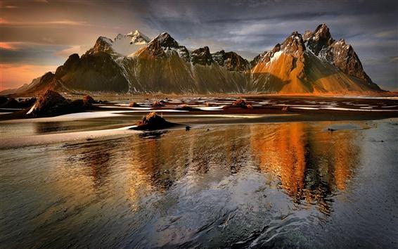 Wallpaper Mountains, lake, water, sunset, winter