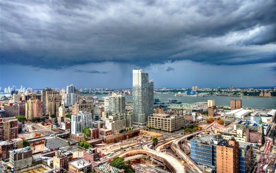 Обои Нью-Йорк, США, горизонты, здания, облака, гроза