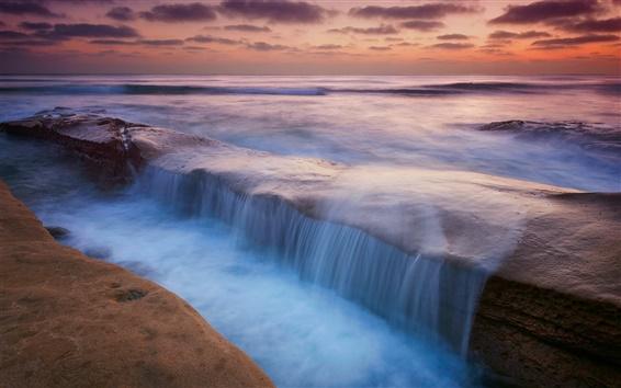 Обои Ночь, скалы, море, потоки