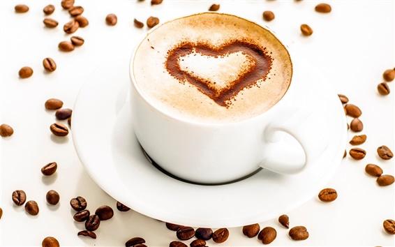 Обои Одна чашка кофе, пена, сердце любовь, кофе в зернах