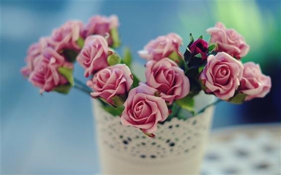 Hintergrundbilder Rosa Rosen Blumen, Blüten, vase, Bokeh