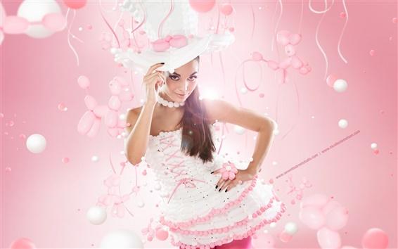Обои Чистая девушка, шляпа, розовый стиль