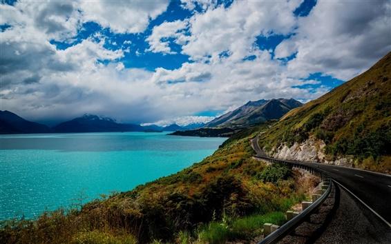 Wallpaper Queenstown, New Zealand, Lake Wakatipu, road, mountains