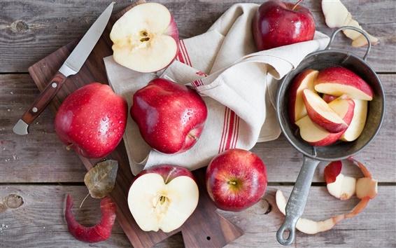 壁纸 红苹果,刀