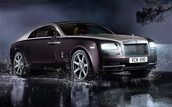Обои Rolls-Royce роскошный автомобиль, фары, вода