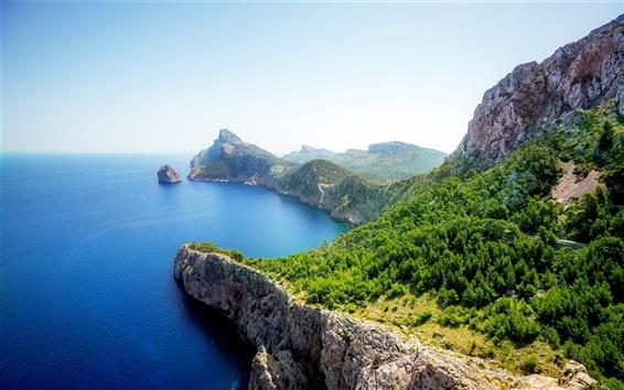 Fond d'écran Mer, côte, rochers, arbres, vert, journée ensoleillée