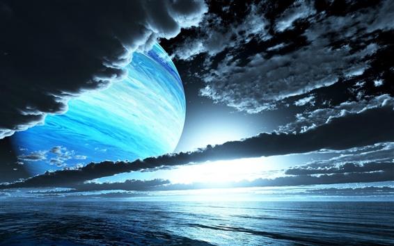 Fondos de pantalla Cielo, nubes, planetas, noche, puesta del sol, mar