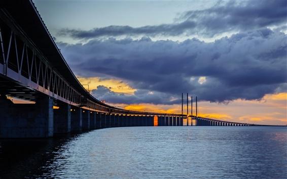 Wallpaper Sweden, Skane, Bunkeflostrand, Oresund Bridge, night, clouds