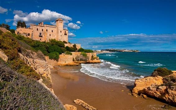 Wallpaper Tarragona, Costa Dorada, Catalonia, Spain, castle, sea, rocks