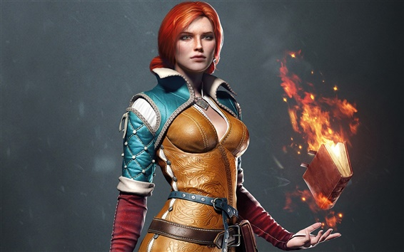 Wallpaper The Witcher 3: Wild Hunt, red hair girl