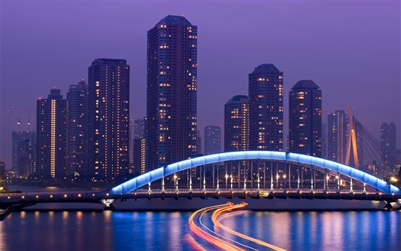 壁紙 東京、日本、大都市、高層ビル、夜、ライト、橋、川