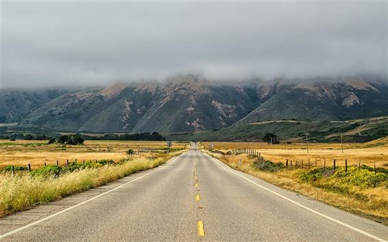 Fond d'écran Californie, route, herbe, montagnes